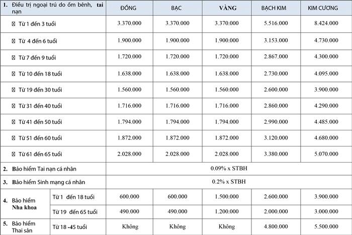 Biểu phí sản phẩm bổ sung Bảo Việt An Gia