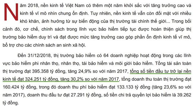 Báo cáo năm 2018 của Cục quản lý và giám sát bảo hiểm